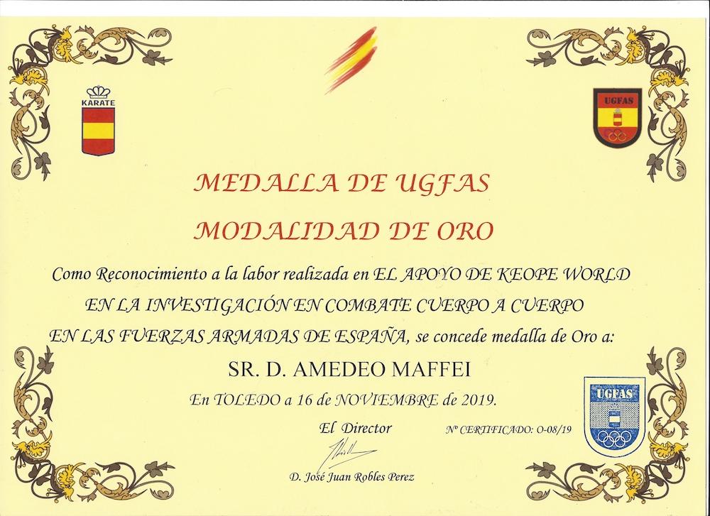 Premio Medaglia d'Oro dell'Esercito Spagnolo all'invenzione italiana per il benessere Keope e Amedeo Maffei