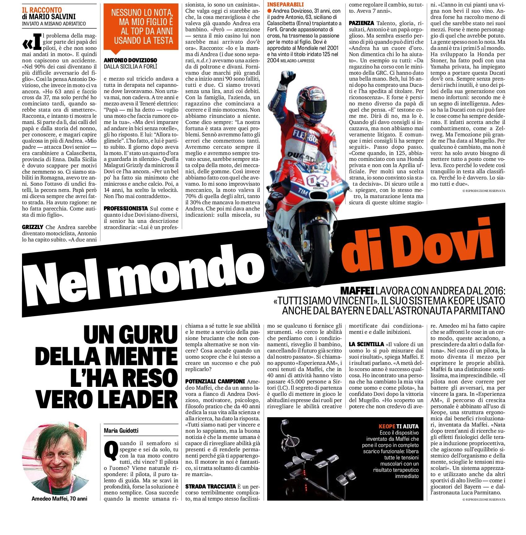 La Gazzetta dello Sport 09/09/2017: In Dovi's World